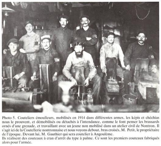 fabrication de couteaux de Nontron pendant la première guerre mondiale