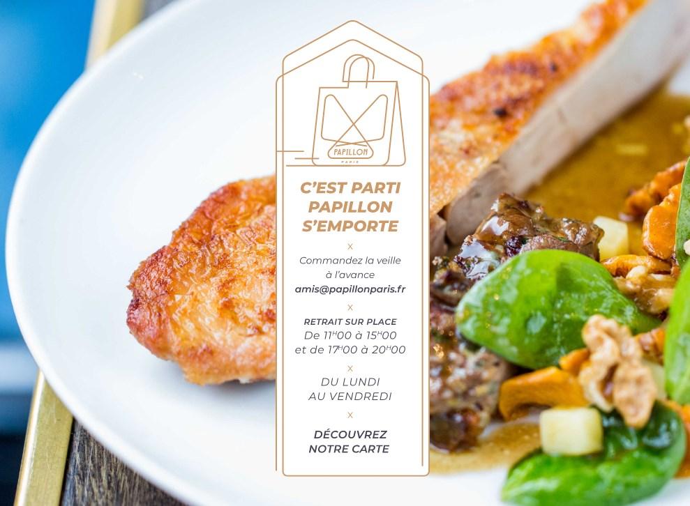 menu à emporter du resto Papillon Paris 17